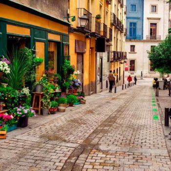Calle con floristería