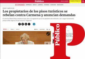 Los propietarios de los pisos turísticos se rebelan contra Carmena y anuncian demandas